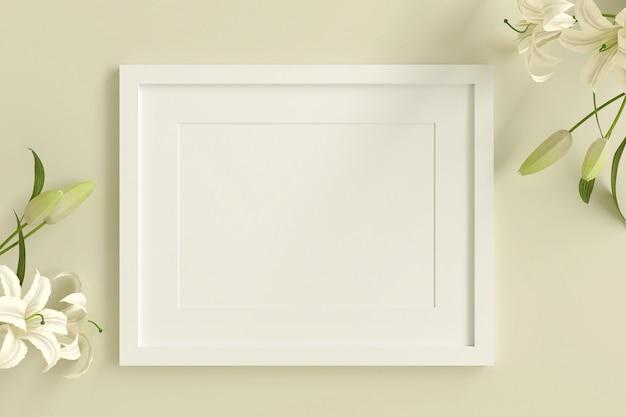 Moldura para retrato branca vazia para inserir texto ou imagem dentro com flor branca decorar na cor pastel amarela. Foto Premium