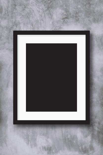 Moldura preta em fundo de parede concreate. Foto Premium