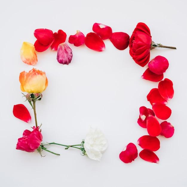 Moldura quadrada feita de flores Foto gratuita