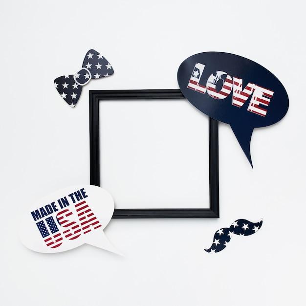 Moldura quadrada preta sobre fundo branco para o dia da independência Foto gratuita