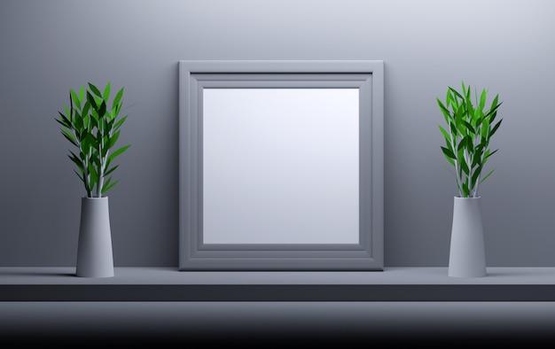 Moldura quadrada vazia em branco e dois vasos com flores. Foto Premium