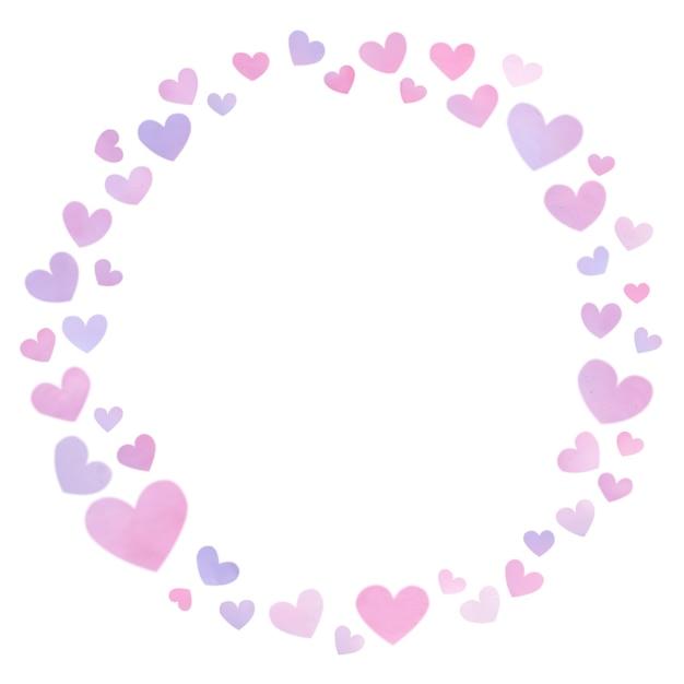 Moldura redonda de coração com lindos corações Foto Premium