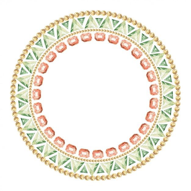Moldura redonda de pedras preciosas e cristais multicoloridos Foto Premium