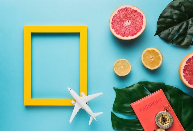 Moldura vazia com avião, folhas e frutas Foto gratuita