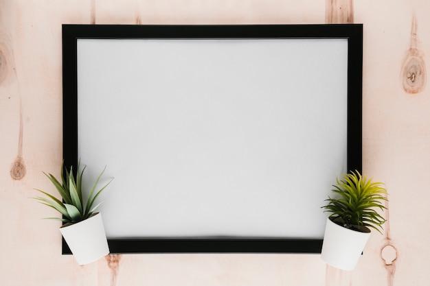 Moldura vazia preta com plantas Foto gratuita
