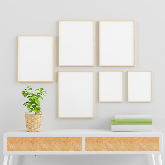 Molduras de madeira simulam coleção em uma sala mínima com plantas, livros e console de renderização em 3d Foto Premium