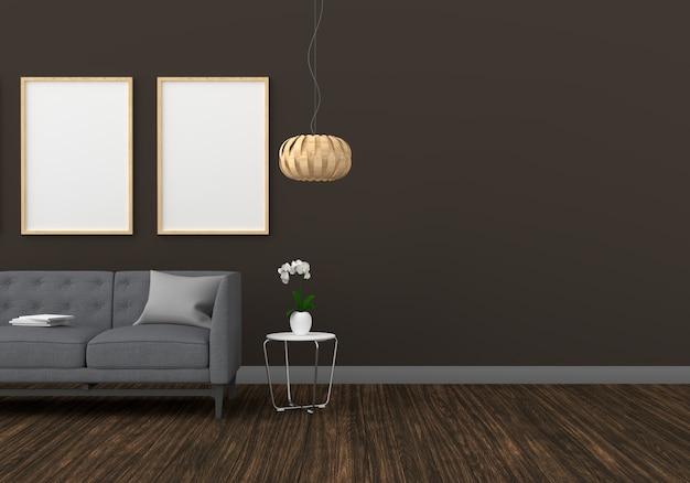 Molduras para fotos em branco dois para maquete na moderna sala de estar Foto Premium