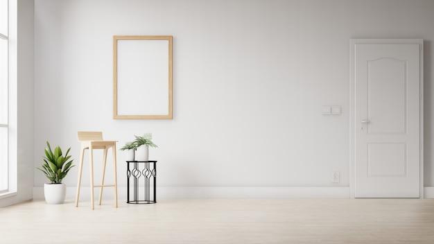 Molduras para fotos em branco interior pendurado na parede branca. renderização em 3d. Foto Premium