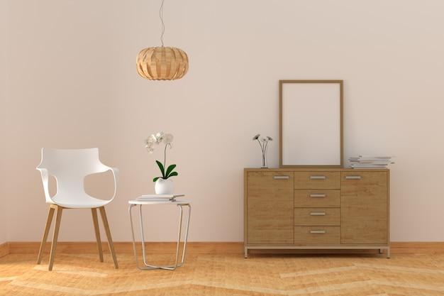 Molduras para fotos em branco na moderna sala de estar Foto Premium
