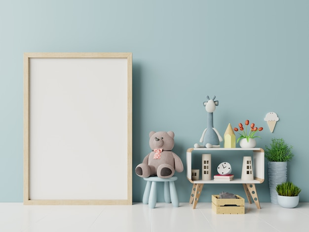 Molduras para fotos em branco no interior do quarto de criança. Foto Premium