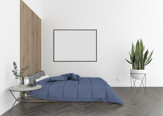Molduras para fotos em branco ou quadro de obras de arte para decoração de interiores do quarto Foto Premium