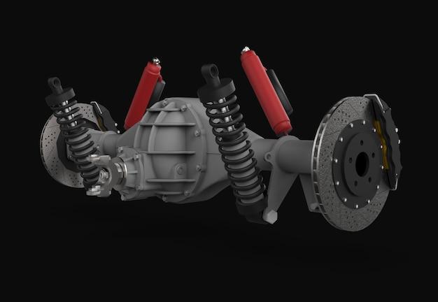 Montagem do eixo traseiro com suspensão e freios amortecedores vermelhos Foto Premium