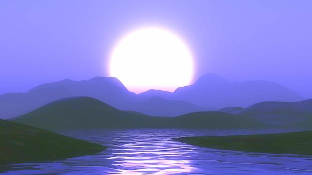 Montanhas 3d e lago contra um céu roxo do sol Foto gratuita