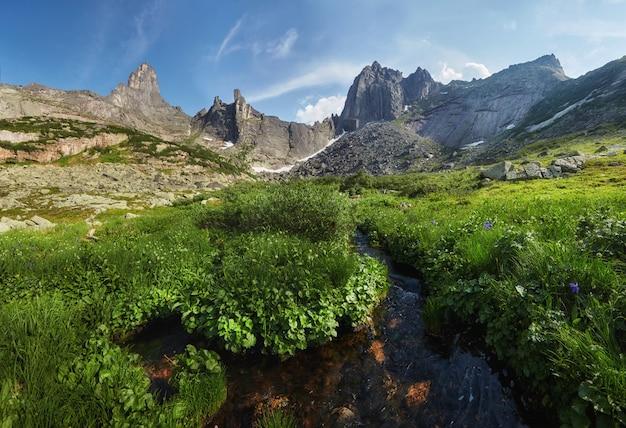 Montanhas e lagos fabulosos, viagens e caminhadas, vegetação exuberante e flores ao redor. descongelou a água das montanhas. vistas mágicas de altas montanhas, prados alpinos Foto Premium