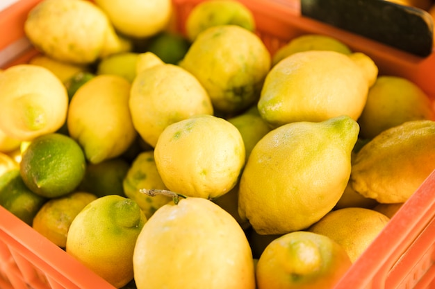 Montão da colheita do limão amarelo maduro maduro fresco no mercado local dos fazendeiros Foto gratuita