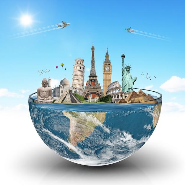 Monumentos do mundo em um copo de água Foto Premium