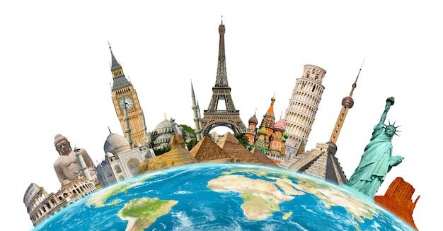 Monumentos famosos do mundo Foto Premium
