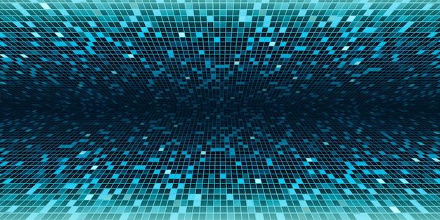 Mosaico quadrado verde mostrar resultados em perspectiva em execução no centro imagem de fundo para ilustração 3d de tecnologia de ciência Foto Premium