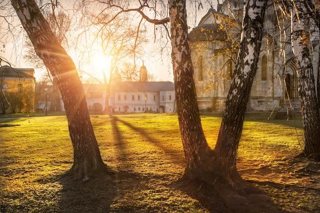 Mosteiro de andronikov em moscou em uma noite de verão Foto Premium