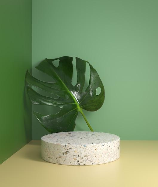 Mostrador de pódio branco de maquete natural mínimo com folhas de monstera fundo de planta tropical renderização em 3d Foto Premium