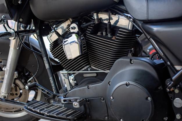 Motor close-up, foto de uma linda motocicleta feita sob medida Foto Premium