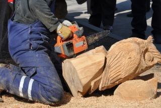 Motosserra e coruja de madeira Foto gratuita