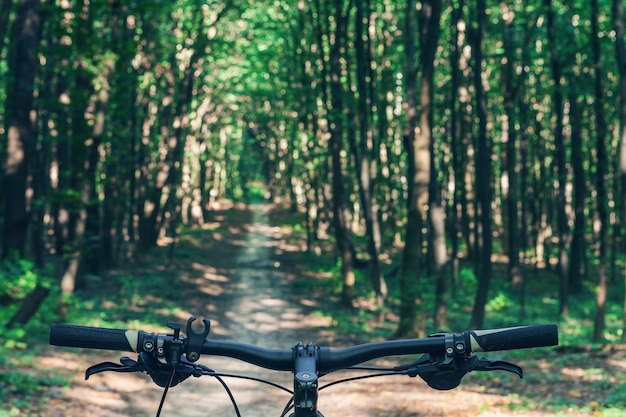 Mountain bike colina descer rapidamente em bicicleta. vista de olhos de motociclistas. Foto Premium