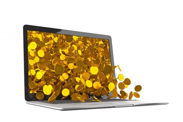 Muitas moedas de ouro saindo do monitor do laptop Foto Premium