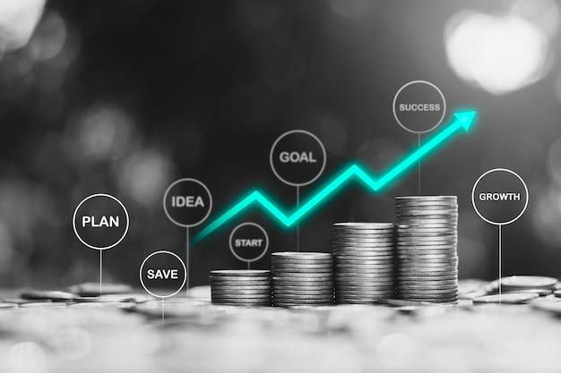 Muitas moedas organizadas com ícones de tecnologia na parte superior, a idéia de iniciar um início financeiro para a meta. Foto Premium