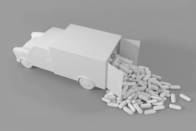 Muitas pílulas saindo do caminhão. Foto Premium