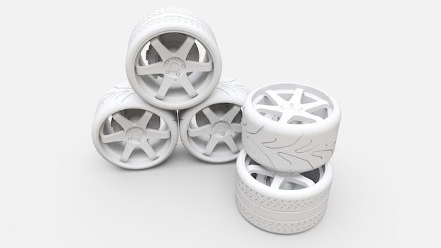 Muitas rodas de carro esportivo juntos. instalação de estilo minimalista Foto Premium