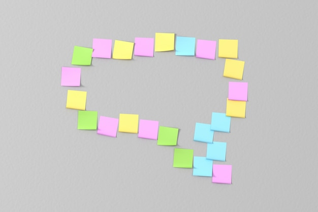 Muitos adesivos coloridos colados na parede cinza na forma de mensagens da mensagem Foto Premium