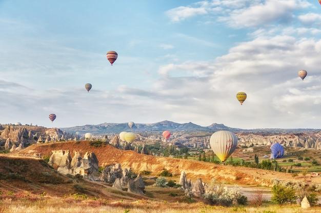 Muitos balões coloridos decolam para o céu Foto Premium