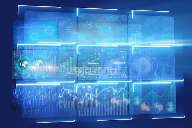 Muitos monitores de tela com gráficos e tabelas Foto Premium