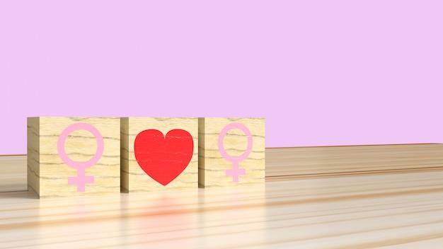 Mulher ama mulher. símbolos femininos com coração, conceito de relacionamento lésbico Foto Premium