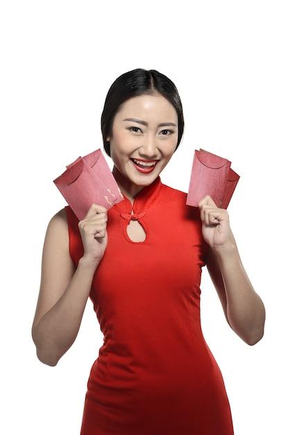 Mulher asian, em, cheongsam, vestido Foto Premium
