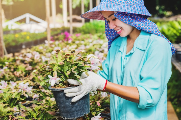 Mulher asiática de trabalhador feliz com plantio de flores, cuidar de flores em estufa. Foto Premium