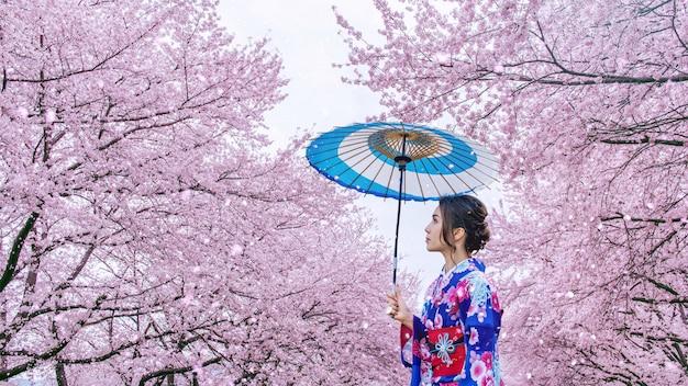 Mulher asiática vestindo quimono tradicional japonês e flor de cerejeira na primavera, japão. Foto gratuita