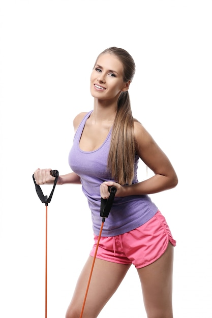 Mulher atraente atleta isolada Foto gratuita