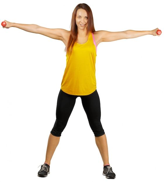 Mulher bonita jovem fitness. isolado Foto Premium