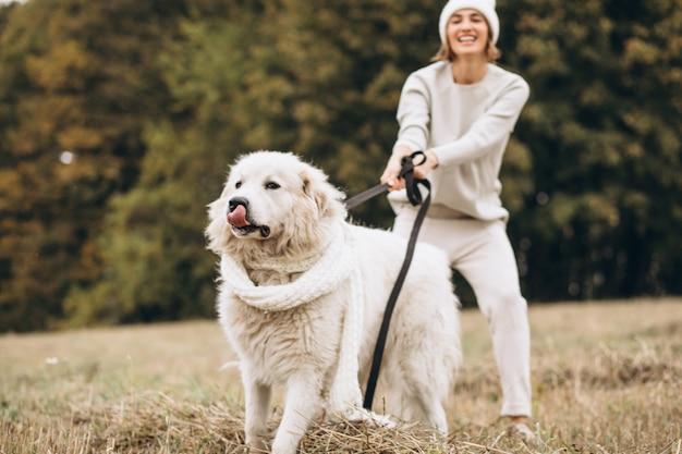 Mulher bonita, passeando com seu cachorro em um campo Foto gratuita