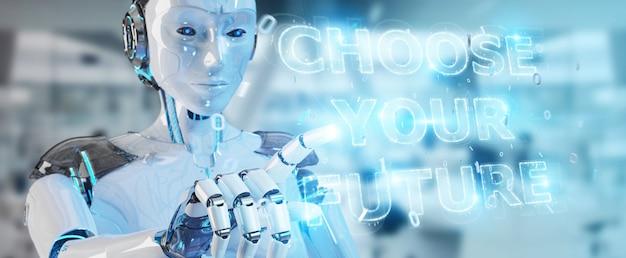 Mulher branca cyborg usando futuro decisão interface de texto renderização em 3d Foto Premium