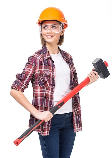 Mulher, com, chapéu duro, e, martelo Foto Premium