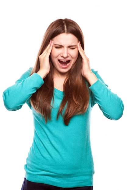 Mulher, com, dor de cabeça Foto Premium