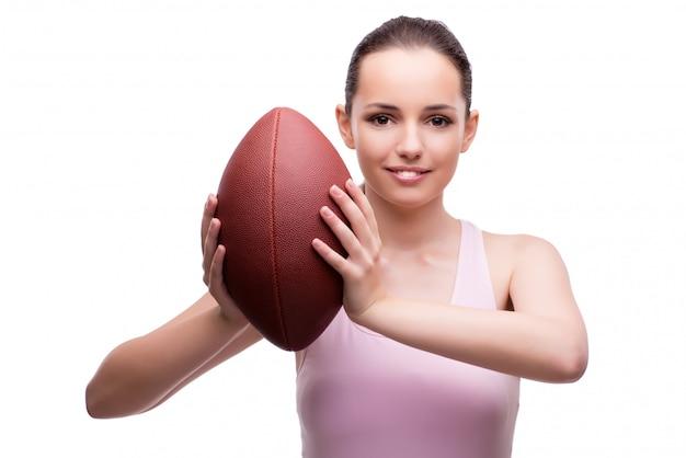 Mulher, com, futebol americano, isolado, branco Foto Premium