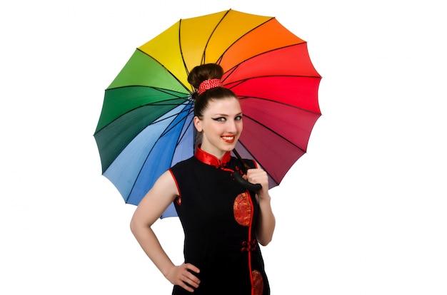 Mulher, com, guarda-chuva colorido, isolado Foto Premium