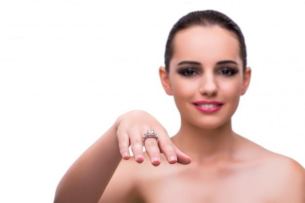 Mulher, com, jewelery, acessórios, isolado, branco Foto Premium