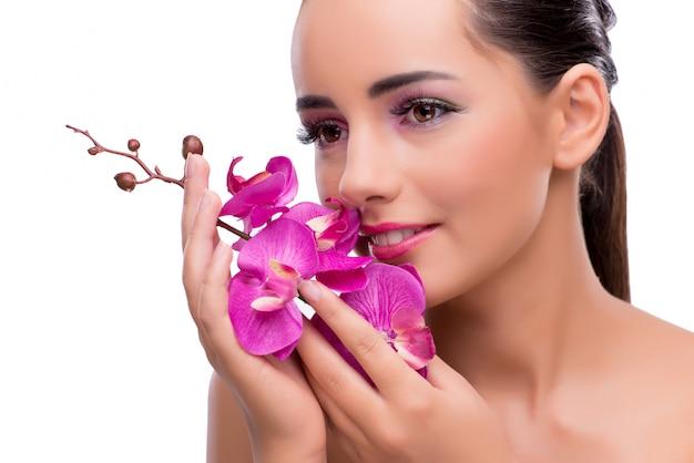 Mulher, com, orquídea, flor, isolado, branco Foto Premium