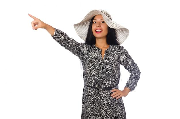 Mulher de cabelo preto em vestido longo cinza isolado no branco Foto Premium