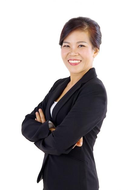 Mulher de negócios asiáticos envelhecido meio sorridente sobre fundo branco Foto Premium